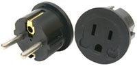 German Round Pin Grounded Voltage Adapter