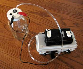 Agitating the water converts your colloidal silver into silver nanoparticles. We agitate the water by infusing air into the distilled water during production. Use this battery-powered air pump to accompany your battery-powered small-particle colloidal silver generators.